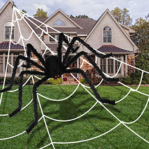 Aitbay 79'' Halloween Giant Spider Decorations with 200'' Halloween Spider Web, Fake Scary Hairy Spiders Props for Halloween Decorations Indoor Outdoor Halloween Decor Yard Party Supplies Decoration