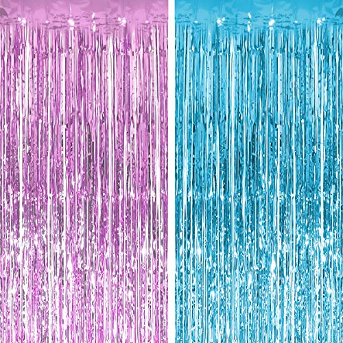 PartyForever 3.2 ft x 8.3 ft Light Blue + Pink Foil Fringe Curtains (2 Pack) - Metallic Photo Booth Tinsel Backdrop Door Curtains - Perfect for Bachelorette Party Decorations, Birthday, Bridal Shower