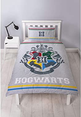 Harry Potter Alumni Single Hogwarts Crest Design Reversible Two Sided Grey Official Bedding Duvet Cover with Matching Pillow
