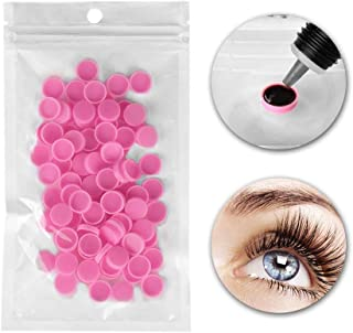 200pcs Pink Plastic Grafting Eyelash Glue Cup Delay Cup Holder Eyelash Beauty Tool Accessories
