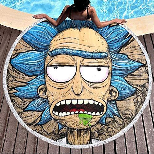 Firelife Rick and Morty Strandtuch Groß Runde Microfaser Strandhandtuch Strandtücher Schnelltrocknend Stranddecke Badetuch Picknickdecke Yogamatte Reisehandtuch