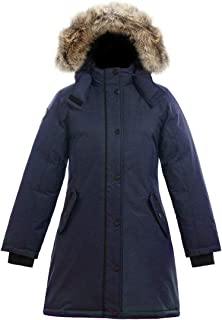 SAGA Collection   Alistair II Girls Hooded Goose Down Jacket Parka with Real Coyote Fur