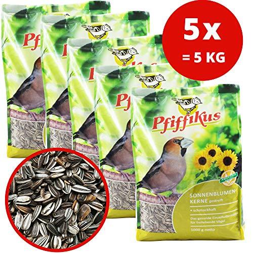 Pfiffikus 5er Pack Sonnenblumenkerne gestreift für Wildvögel 5 x 1 KG - Wildvogelfutter ganzjährig Winter und Sommer - Vogelfutter zum Streuen o. für Vogelfutterhaus, Futterstation - Made in Germany
