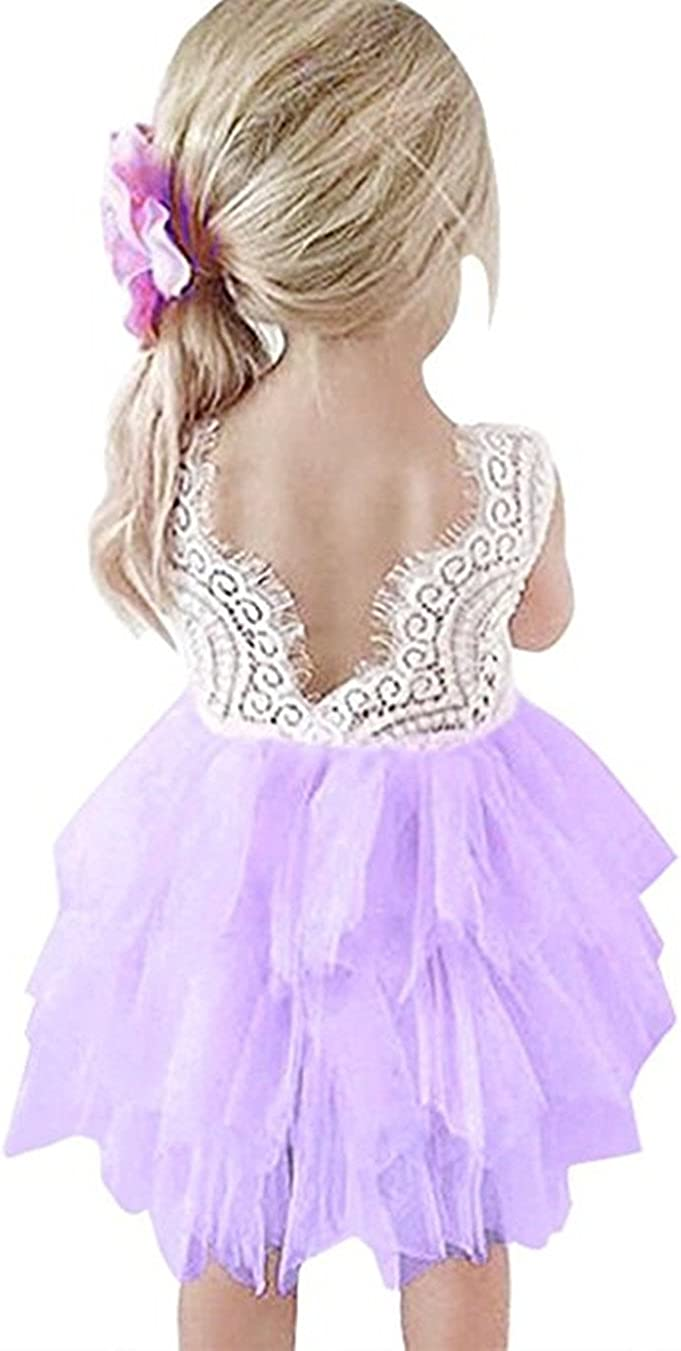 Colorfog Baby Girl Backless Lace Wedding New Max 53% OFF Free Shipping Dress Tutu Flower