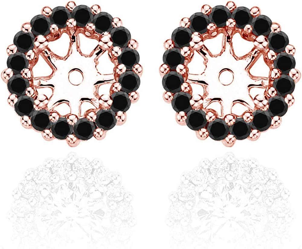 1.20 Carat Black Diamond Earrings Jackets For 6.75 MM(2.50 Carat Total Weight) 14K Rose Gold Halo Stud Solitaire