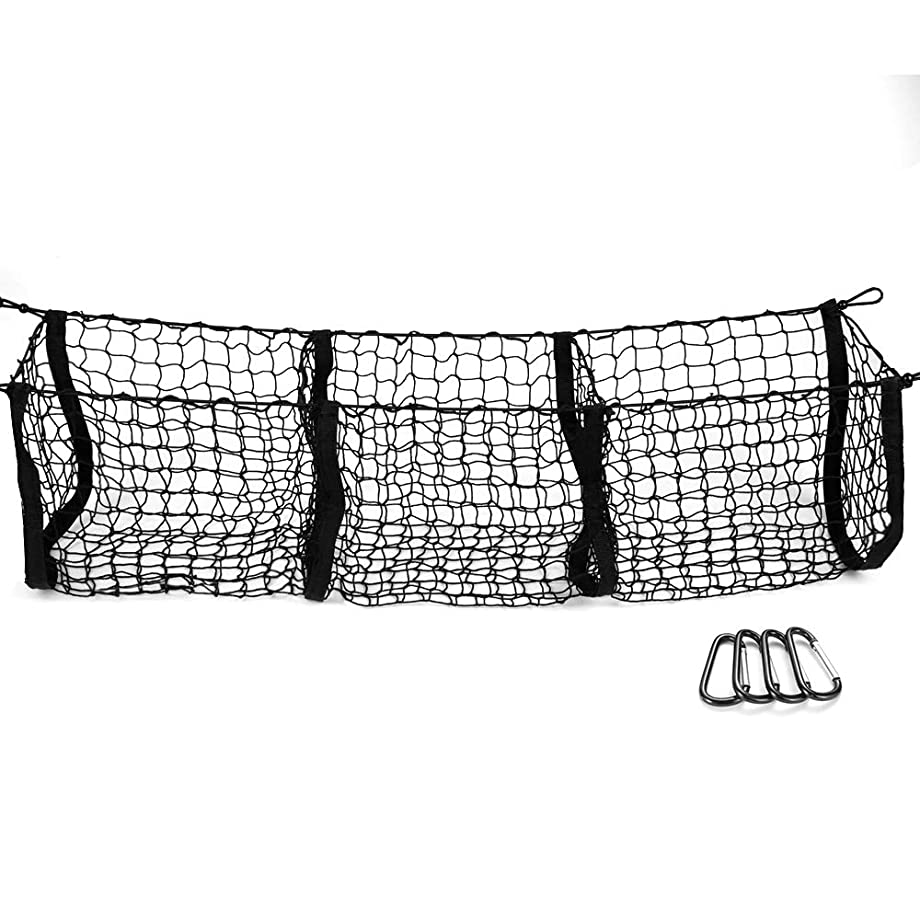 MICTUNING Three Pocket Trunk Cargo Organizer Storage Net - Heavy Duty Cargo Net for Car, SUV, Pickup Truck Bed - Black Mesh with Free Four Metal Carabiners