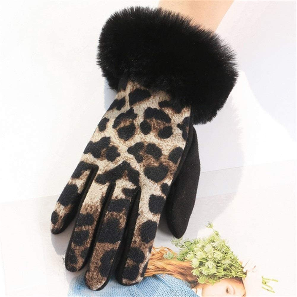 HABADOG Soft Plush Touch Screen Ladies Gloves Plus Driving Inside to Keep Warm and Cold (Color : Khaki)