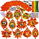 20 Sets Fall Leaf Ornaments Decorations DIY Fall Leaf Picture Frame Craft Kit Assorted Foam Autumn Leaf Shapes Pipe Cleaner Pom-Poms Googly Eyes for Kids Art Thanksgiving Halloween Party Decoration