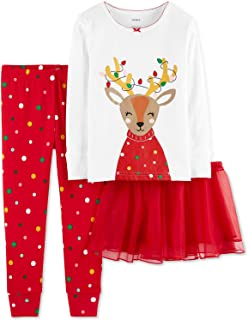 Carter's Baby Girls' Christmas 3-Piece Cotton Pjs with Tutu Set (12 Months, Red Reindeer)