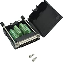 DB25 Breakout Board Solder-Free Male Adapter 25-pin Port Adapter to Terminal Connector Signal Module Long Bolts and Nuts with case