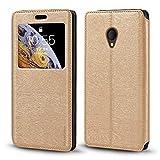Alcatel U5 - Funda para Alcatel U5 Premium (piel, tarjetero y ventana), diseño de grano de madera