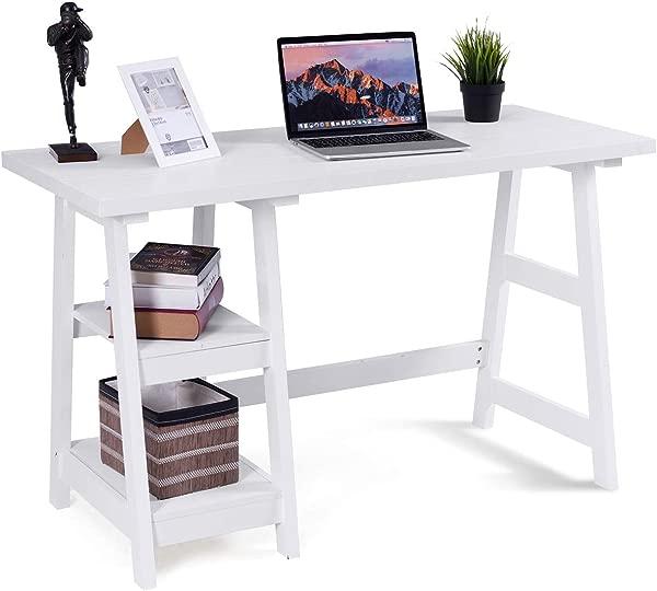 Tangkula Writing Computer Desk Trestle Desk Study Desk Laptop PC Desk Modern Wood Vintage Style Reversible Storage Shelf Home Office Furniture Sturdy Table Study Table White