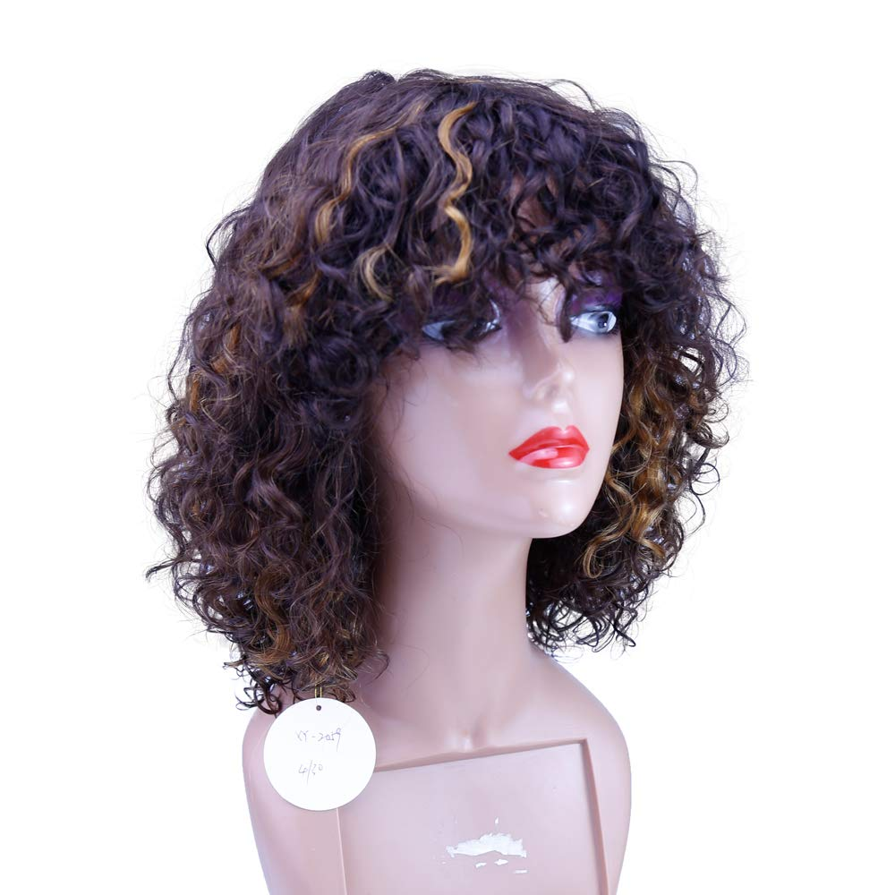XYHair human hair curly no lace wigs bangs black women Overseas parallel import regular item with for Al sold out.