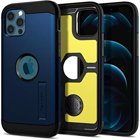 Spigen Tough Armor Back Cover Case Compatible with iPhone 12 Pro | iPhone 12 (TPU + Poly Carbonate | Navy Blue)