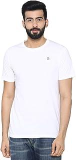 Bongio Men's Plain Half Sleeve Casual T-Shirt for Summer - White