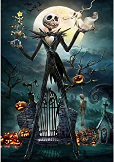 5D Full Drill Diamond Painting Kit, Jack Skellington Halloween Skull 15.8x11.8In DIY Diamond Painting by Number Kits Cross Stitch Rhinestone Embroidery Picture Arts Craft for Home Decor