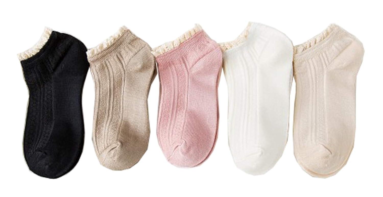 Caissipソックス レディーズ 靴下 ショートソックス 浅履き 5足組 セット 綿 ミドル丈 浅履き スニーカーソックス