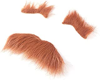 BinaryABC Halloween Costumes Self Adhesive Fake Eyebrows Beard Moustache Facial Hair,Halloween Party Supplies (Brown)