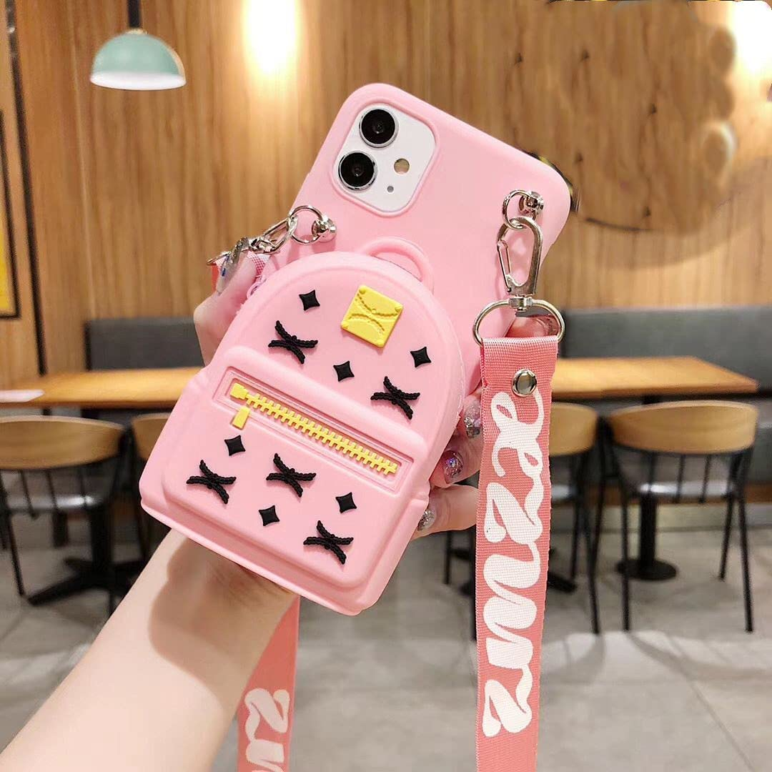 ISYSUII Cute Cartoon Case for Samsung Galaxy S20 Ultra Backpack Design Kawaii Girls Women Teens Soft Silicone Shockproof Rubber Cover Crossbody Wallet Card Holder Case with Kickstand,Pink