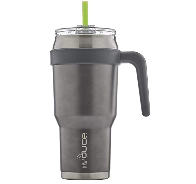 REDUCE COLD-1 Stainless Steel 40oz Extra Large Vacuum Insulated Thermal Mug, 3-in-1 Lid and Handle - Ideal Cup for Coffee or Water, Powder Coat (Metallic Gray), Great for Home/Travel, Straw Included