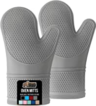 Gorilla Grip Slip Resistant Silicone Oven Mitts with Soft Quilted Lining, Heat Resistant Waterproof Flexible Gloves for Cooking and BBQ, Oven Mitt Potholders, Kitchen Décor, Gray Pair, Set of 2
