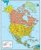 GeoPolitical 2in1: Includes important North America Political Map data along with an extra 3D-shaded layer of Physical Map Relief Laminated: Heavy Duty Paper Stock and Durable 3mil two-sided Lamination for years of use! Versatile: The North America W...