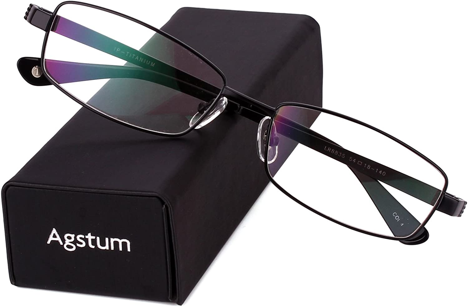 Agstum Pure Titanium Full Rim Glasses Frame Optical Eyeglasses Rxable 54mm
