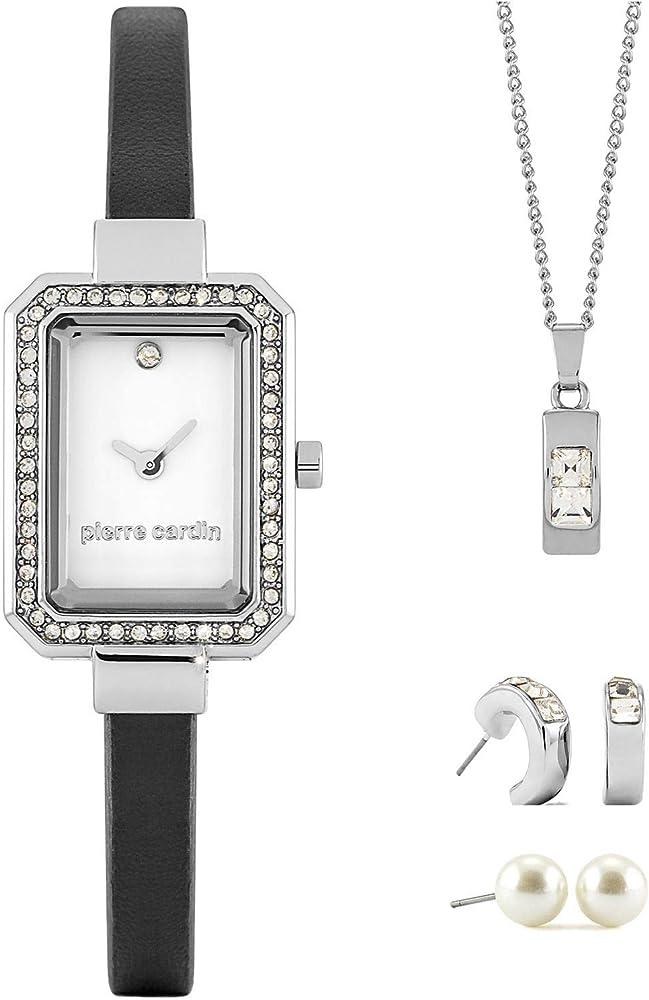 Pierre cardin,set regalo per donna,orologio + collana + orecchini PCX6530L280