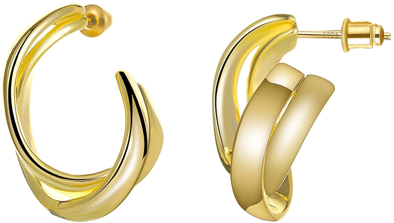 AFFBP Chunky Max 89% OFF Twist Hoop Earrings 925 Post Silver 14K Sterling Pl San Jose Mall
