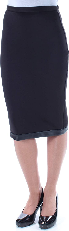 Bar III Womens Matte Jersey Faux Leather Trim Pencil Skirt