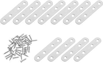 Scicalife Platte Rechte Beugel Heavy Duty Rvs Meubels Brace Connector Ronde End Zilver Deelnemen Plaat Voor Plank Kast Meu...