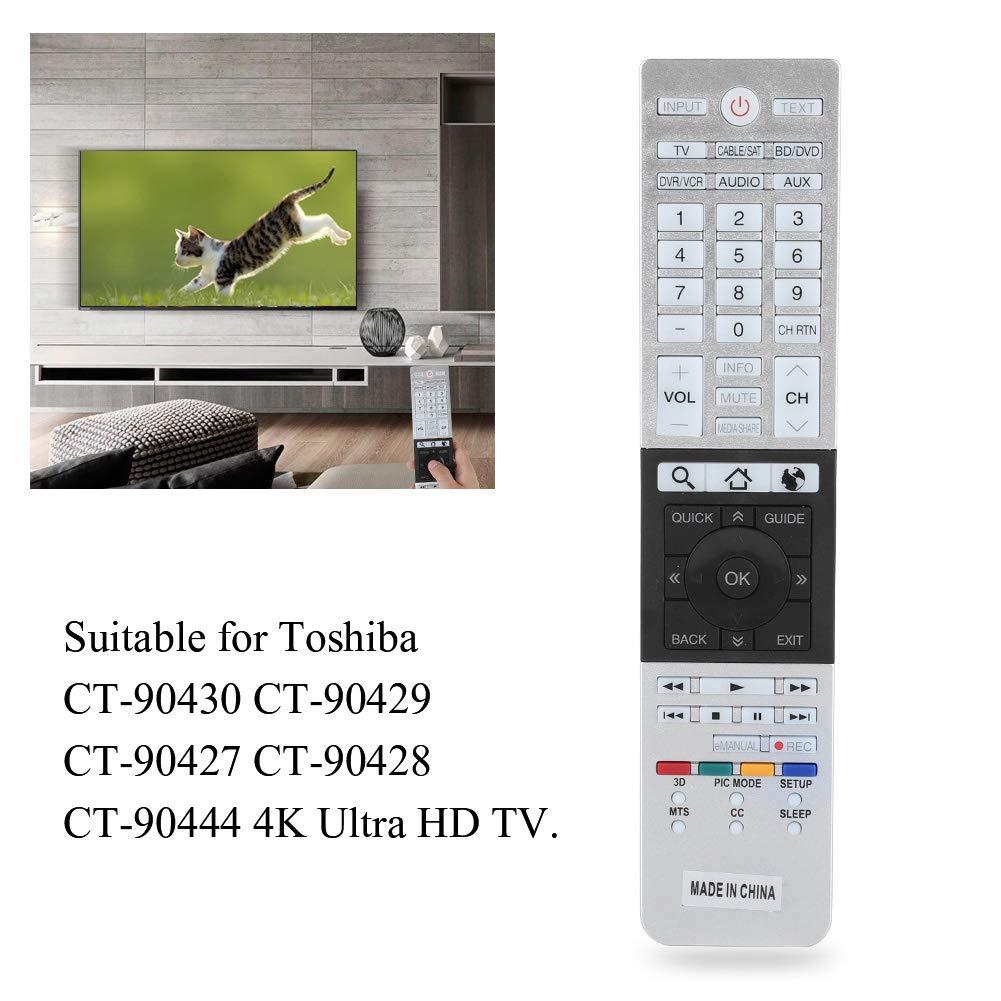 Mando a Distancia de TV,Servicio de reemplazo Ultra HD Smart TV Control Remoto para Toshiba CT-90430 CT-90429 con Función de Aprendizaje: Amazon.es: Electrónica