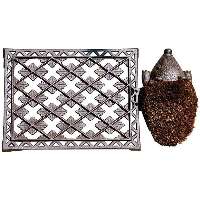 モート領事館消毒剤完璧な鋳鉄製ハリネズミドアマット、スクロール枠付き天然繊維屋外用ドアマット床をきれいに保ちます装飾的なデザイン、デザインのブートブラシ