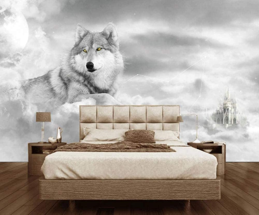 3d Wallpaper 3d Living Room Bedroom Mural Wallpaper Wolf Black And White Forest Tv Background Wall Decoration 150x105cm L Wall Stickers Murals Amazon Canada