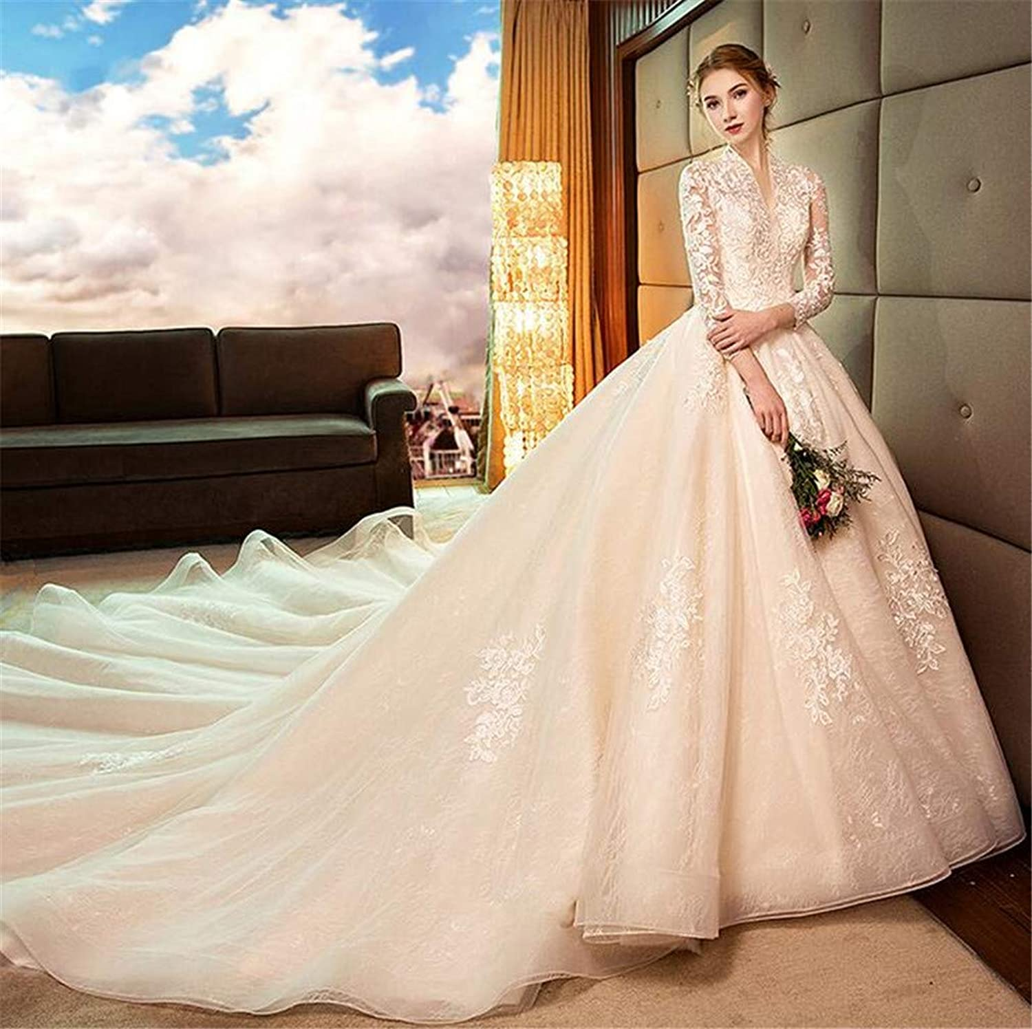 Wedding Dresses Bride Gown Women Dresses VNeck Slim Princess Dream Sexy Long Tail Wedding Evening Party