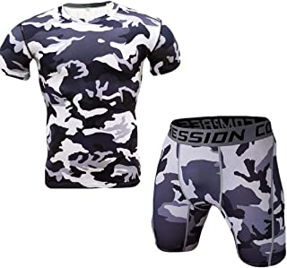 Men's 2 Pieces Compression Quick Dry Sets Short Sleeve Shorts Tight Baselayer Shirt and Shorts