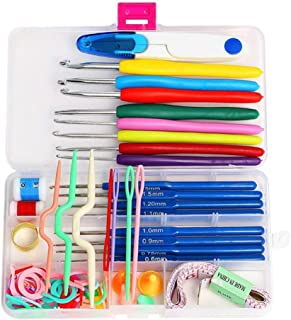 16 Sizes Crochet Hooks Home Full Set DIY Knitting Needles Stitches Sewing Kit Sewing Box Set 57 in 1 Weaving Sewing Tools ...