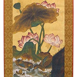Lotus Flower and Duck in Pond Silk Scroll Hanging Wall Art Interior Decor Handmade Asian Print Korean Folk Painting