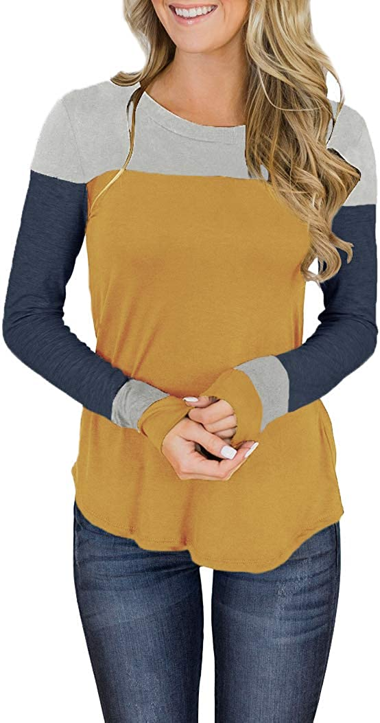 Minthunter Women's Long Sleeve Deluxe Crew Color Max 69% OFF Neck Cute Block Tunic