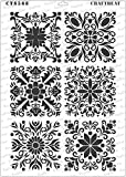CrafTreat Stencil - Square Tiles - Reusable Painting Template Stencils for DIY Crafts, Home Decor, Scrapbooking, Album Making, Wall Hanging, Bags, Fabrics, Canvas, Plates, Frames, Cards - A4