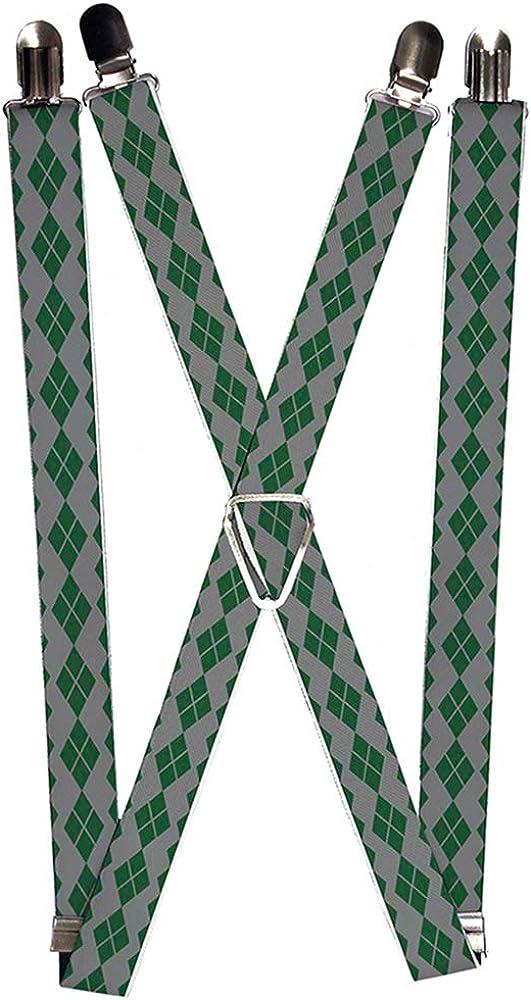 Buckle-Down Suspenders-Joker Diamonds Gray/Green