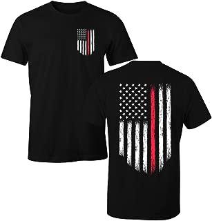 Thin Red Line Firefighter USA Flag Men's T Shirt
