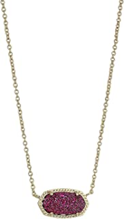 Elisa Gold Pendant Necklace in Deep Fuchsia Drusy