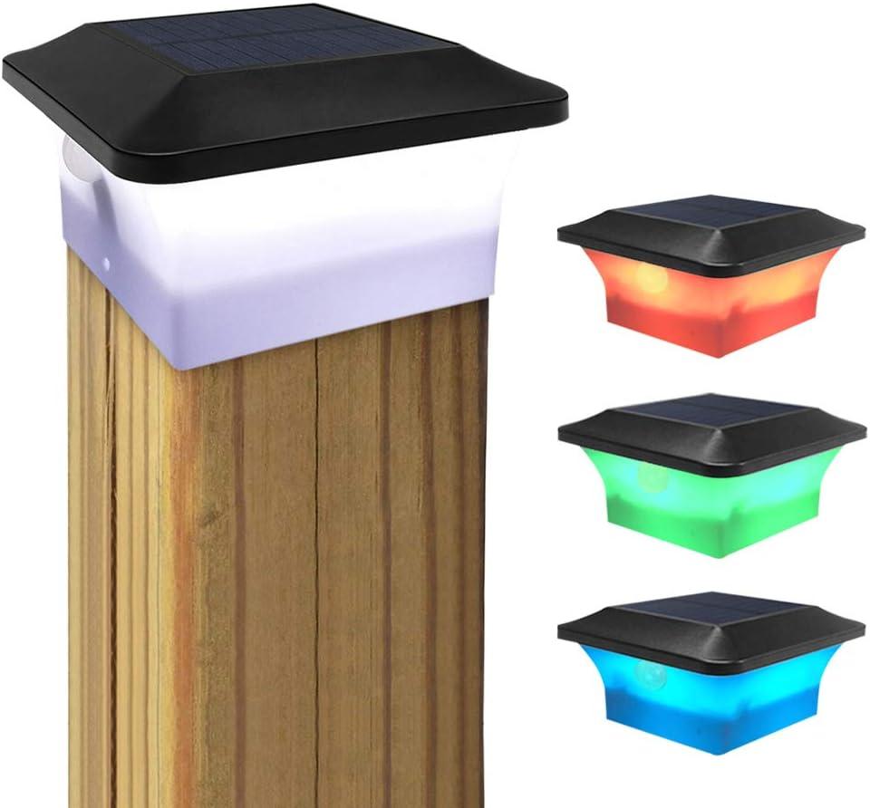1 Pack INDARUN Solar Post Cap Lights Outdoor Motion Sensor LED Deck Fence Cap Light IP65 Waterproof Modern Design Garden Patio Landscape Lighting White Solar Lamp for 4 x 4 PVC Vinyl Wood Black