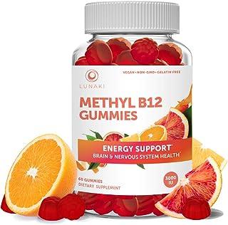 Lunaki Methyl B12 3000 mcg Gummies for Adults - Organic Gummy Non-GMO Vegan Paleo No Corn Syrup All Natural Vitamins for E...