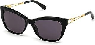 Swarovski SK-0262-S 01A Sunglasses Glossy Black Rose Gold Grey