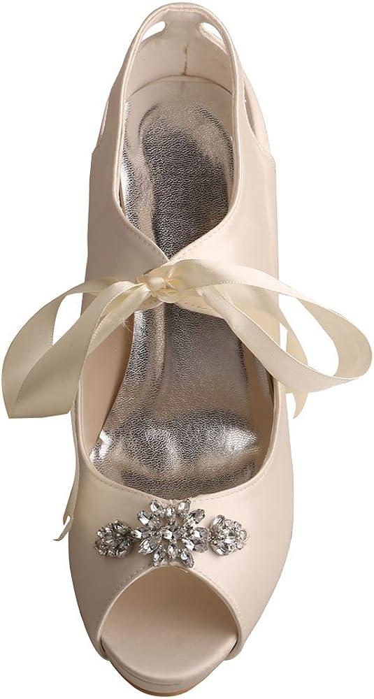 Wedopus MW505 Damen Mary Jane Peep Toe High Heel Ribbon Tie Satin Hochzeit Braut Pumps Schuhe