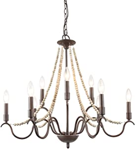 "LALUZ White French Country Chandeliers for Living Room, 9-Light Wood Beads Kitchen Island Lighting for Dining Room, 28"" L x 25.5"" H (9-Light)"