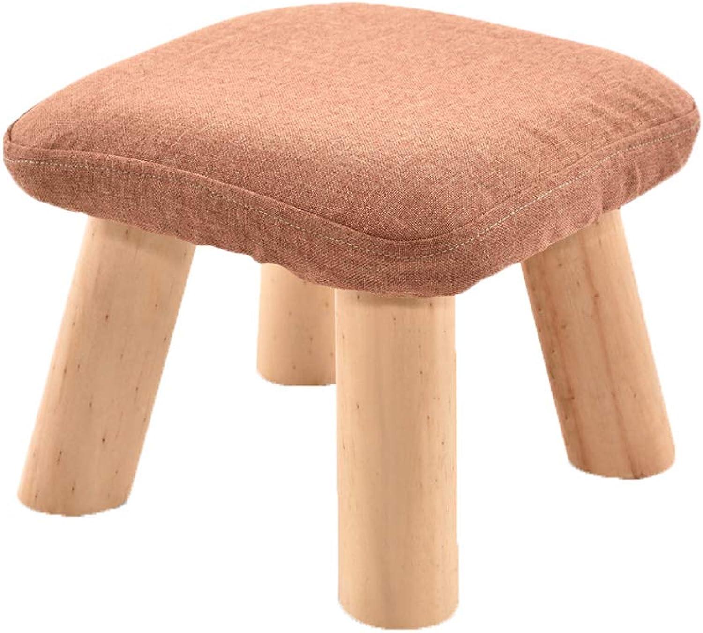 HLJ Comfortable Solid Wood Sofa Stool Simple Cloth Art Mushroom Stool Fashion Creative Change shoes Bench