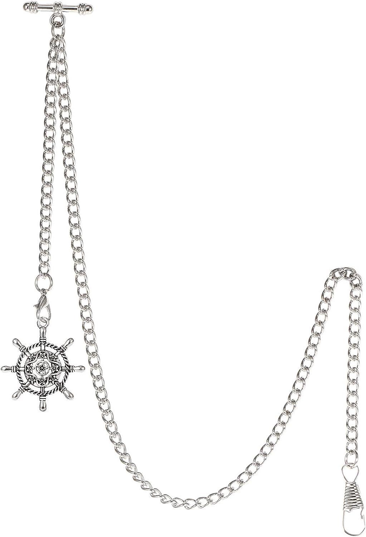 TREEWETO Albert - Reloj de bolsillo con cadena para hombre, 2 ganchos, diseño antiguo de timón